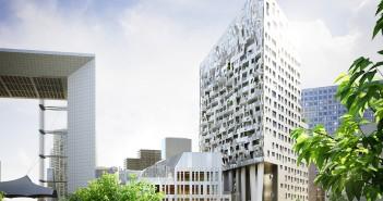 Le Skylight sera construit dans le quartier des Jardins de l'Arche, au cœur de Paris La Défense (commune de Puteaux - 92). Crédits photos : Nexity, Paillard, Valmy