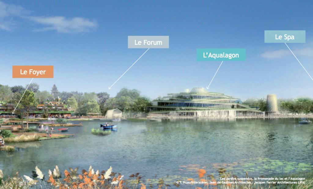 Les concepteurs de Villages Nature se sont inspirés de la géothermie locale pour créer l'Aqualagon, icône de la destination. Celui-ci est formé d'un lagon à ciel ouvert de 2500 m² pour se baigner toute l'année à plus de 30°C